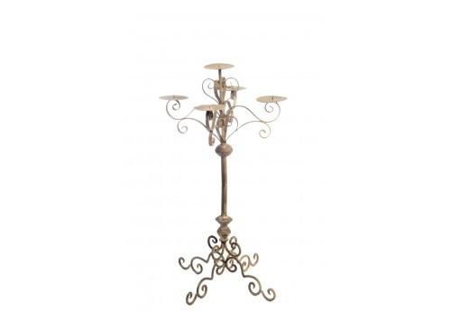 chandelier baroque sur pied 5bras en m tal marron 32x76cm j line j. Black Bedroom Furniture Sets. Home Design Ideas
