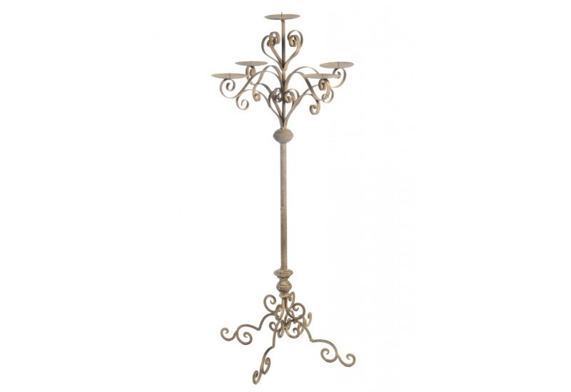 grand chandelier baroque sur pied 5bras en m tal marron l 35x100cm. Black Bedroom Furniture Sets. Home Design Ideas