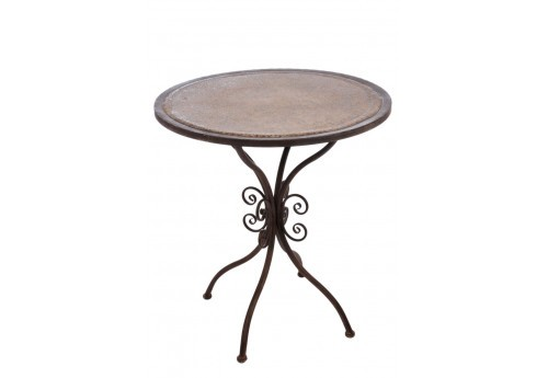 petite table romantique ronde en m tal marron 67x67x76cm j line j l. Black Bedroom Furniture Sets. Home Design Ideas