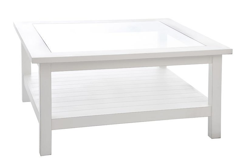 table basse classique en bois blanc et dessus verre 90x90x45cm j li. Black Bedroom Furniture Sets. Home Design Ideas