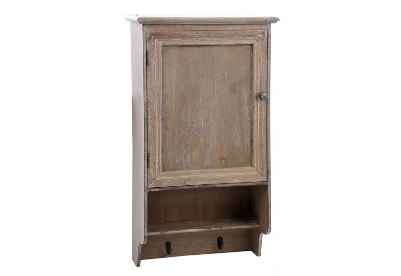 petite armoire murale 1 porte en bois brut blanchi 42x20x79cm j lin. Black Bedroom Furniture Sets. Home Design Ideas