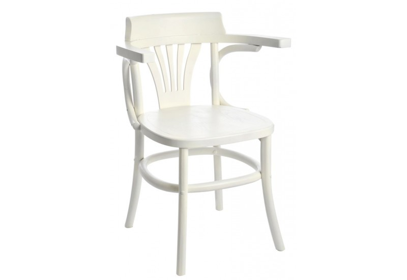 Chaise de bistrot blanche for Chaise blanche accoudoir