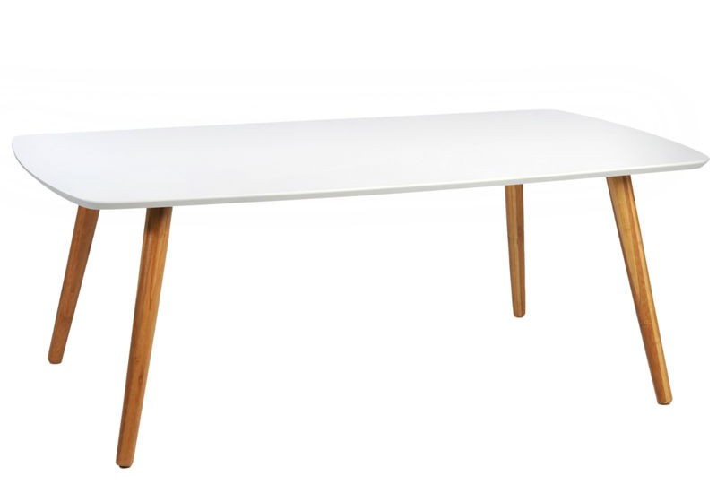 Table basse scandinave rectangulaire en bois blanc et naturel 120x6 - Table basse blanc et bois ...