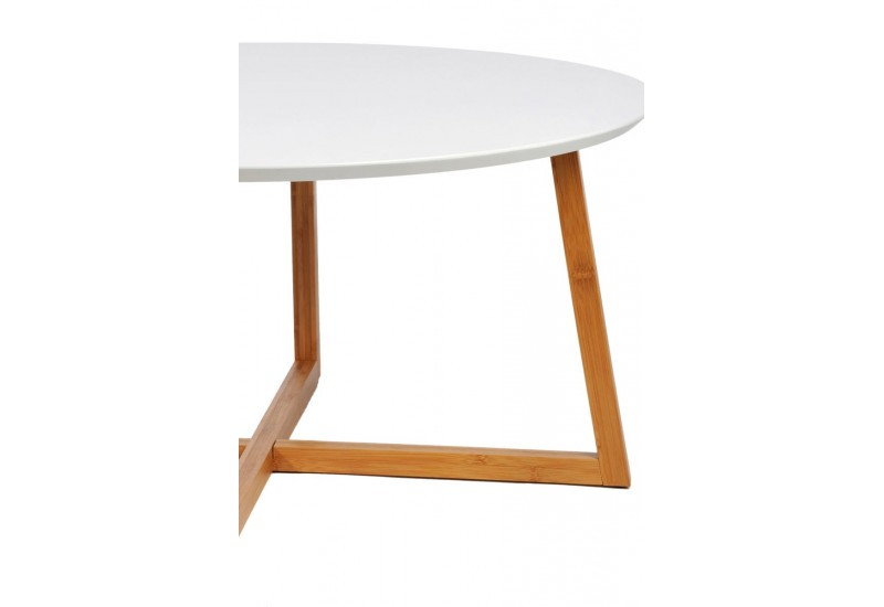 table basse scandinave ronde en bois blanc et naturel 80x40cm j lin. Black Bedroom Furniture Sets. Home Design Ideas