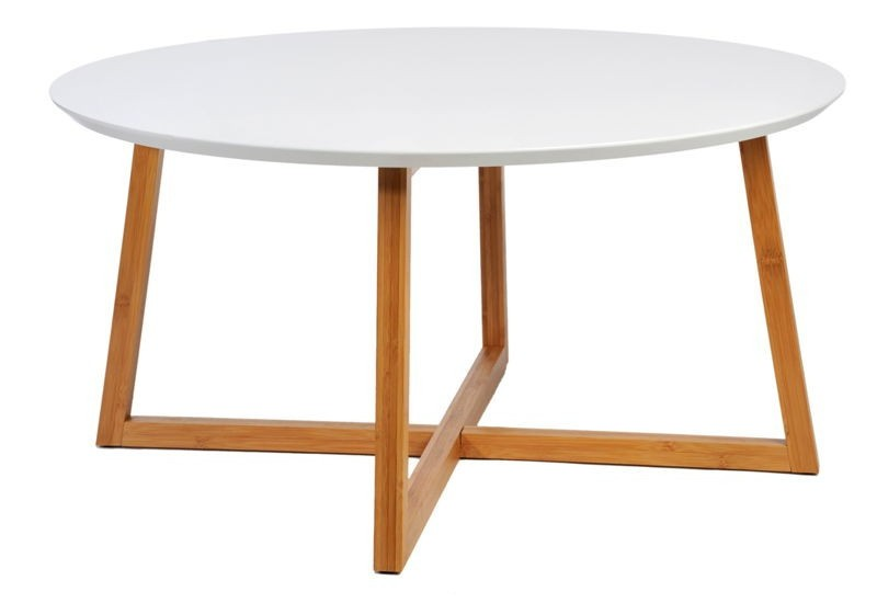 Table basse scandinave ronde en bois blanc et naturel 80x40cm j lin - Table ronde bois blanc ...