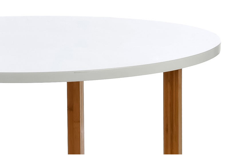 table manger scandinave ronde en bois blanc et naturel 100x76cm j. Black Bedroom Furniture Sets. Home Design Ideas