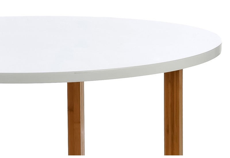 Table manger scandinave ronde en bois blanc et naturel for Table a manger scandinave bois