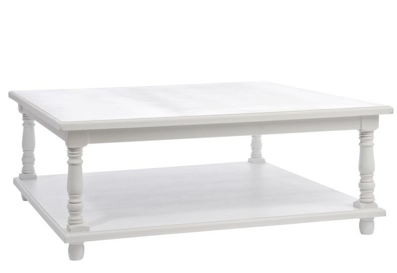 table basse classique rectangulaire en bois blanc l 100x100x40 j li. Black Bedroom Furniture Sets. Home Design Ideas