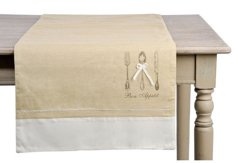 Chemin de table shabby chic couvert en coton blanc et - Chemin de table beige ...