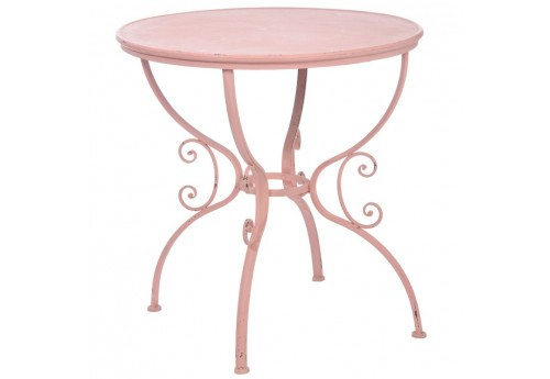 Table Bistrot Bohème Chic En Fer Forgé Rose 74,5X74,5X74,5Cm J-Line