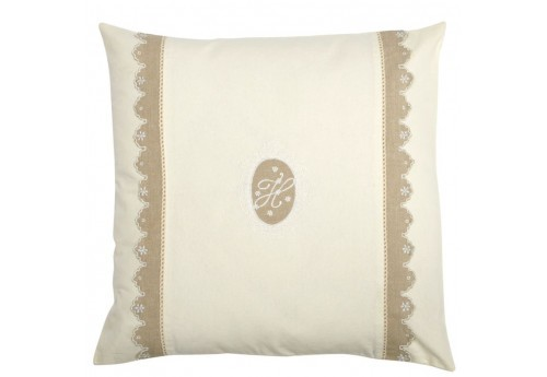 Coussin Shabby Chic Broderie Monogramme Crème Et Taupe 60X60Cm J-Line