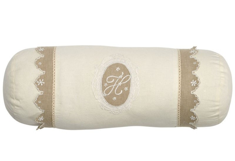 coussin boudin shabby chic broderie monogramme cr me et taupe 20x50. Black Bedroom Furniture Sets. Home Design Ideas