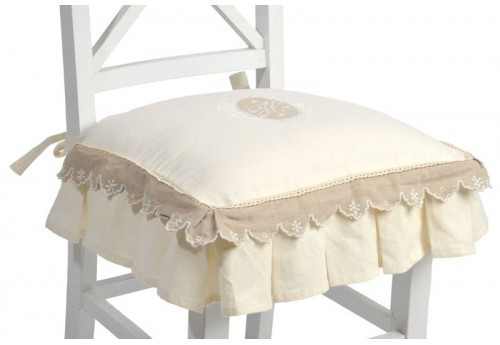 galette de chaise volant shabby chic broderie monogramme cr me et. Black Bedroom Furniture Sets. Home Design Ideas