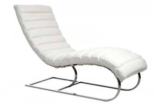 Rocking-Chair Design Moderne En Similicuir Blanc  56X162X97Cm J-Line