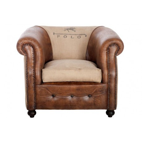 fauteuil club vintage polo pieds cuir marron vieilli et tissu cr me. Black Bedroom Furniture Sets. Home Design Ideas