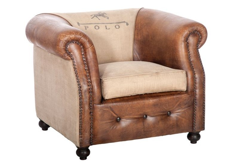 fauteuil club vintage polo pieds cuir marron vieilli et. Black Bedroom Furniture Sets. Home Design Ideas