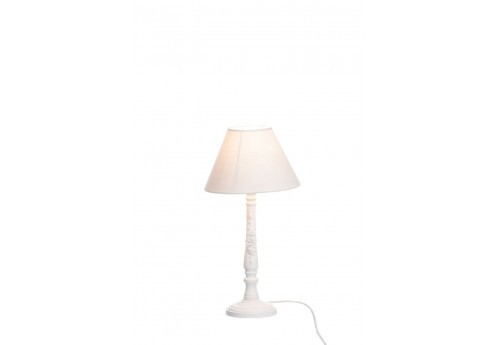lampe de chevet romantique en bois blanc et abat jour rose clair 12. Black Bedroom Furniture Sets. Home Design Ideas