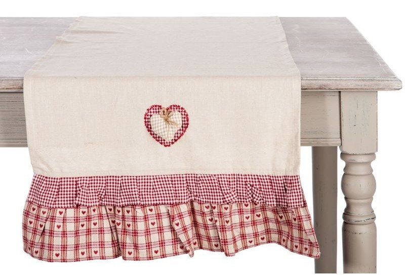 Chemin de table campagne chic syrah c ur en coton beige et - Chemin de table chic ...