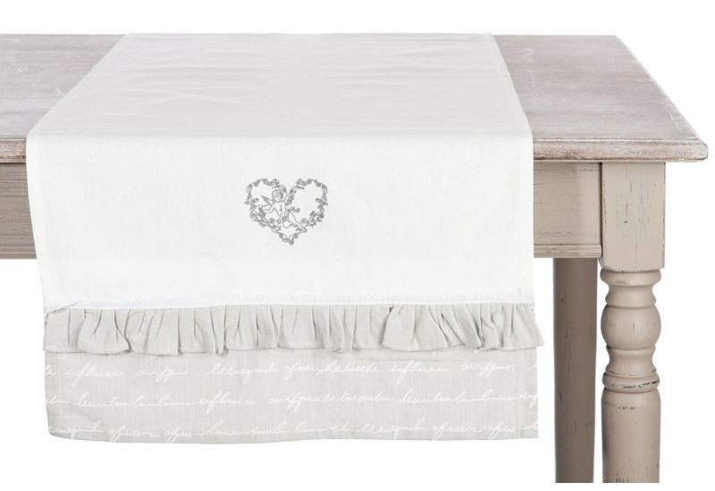chemin de table romantique meridia coton blanc et gris clair vola. Black Bedroom Furniture Sets. Home Design Ideas