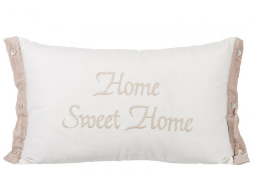 Coussin Home Sweet Home Coton Blanc/Beige 30X50Cm J-Line