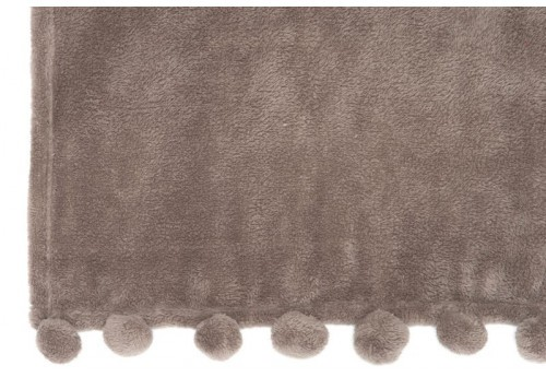 Plaid 30 Pompons Polyester Taupe 127X152Cm J-Line