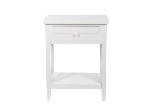 table de nuit 1 tiroir croix bois blanc 50x35x63 j line j line by j. Black Bedroom Furniture Sets. Home Design Ideas