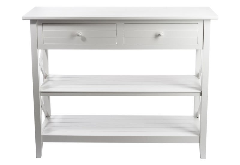 console 2 tiroirs et 2 plateaux croix bois blanc 105x43x82cm j line. Black Bedroom Furniture Sets. Home Design Ideas