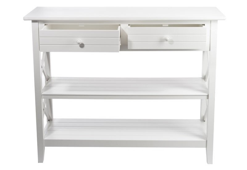 console 2 tiroirs et 2 plateaux croix bois blanc. Black Bedroom Furniture Sets. Home Design Ideas