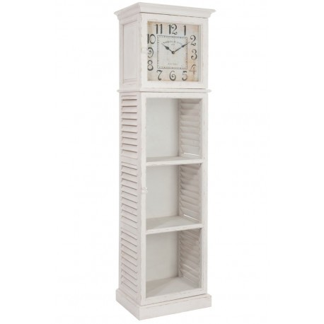 vitrine comtoise romantique en bois blanc 50x36x181cm j line j line. Black Bedroom Furniture Sets. Home Design Ideas