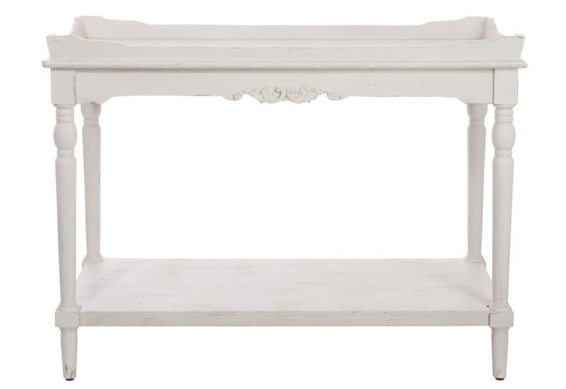 console romantique plateau bois blanc 106 5x50 8x79 5cm j line j li. Black Bedroom Furniture Sets. Home Design Ideas