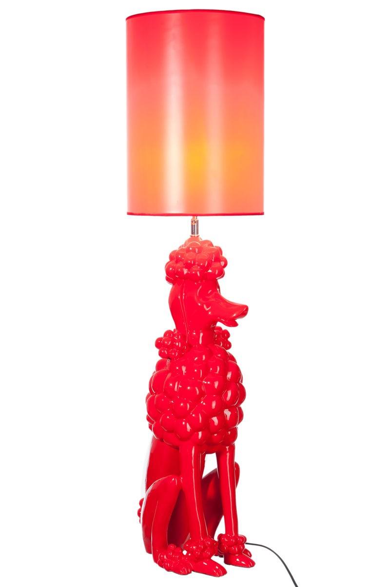 Lampe moderne caniche en fibre de verre rouge 25x28x100cm j line j