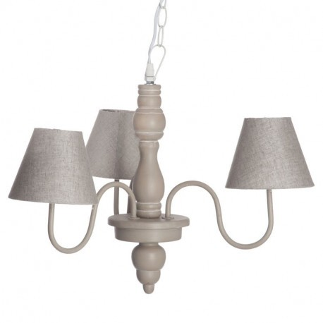 lustre romantique 3 lampes en bois taupe 46x46x41cm j line j line b. Black Bedroom Furniture Sets. Home Design Ideas