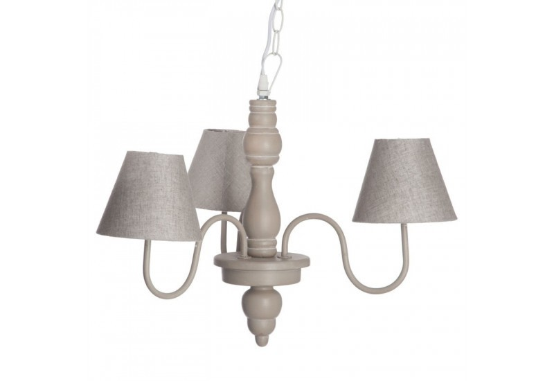 lustre romantique 3 lampes en bois taupe 46x46x41cm j line. Black Bedroom Furniture Sets. Home Design Ideas