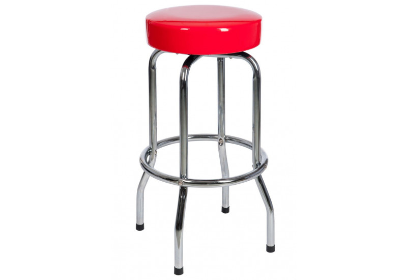 tabouret de bar rond en m tal et dessus rouge 50x50x74cm j line j l. Black Bedroom Furniture Sets. Home Design Ideas