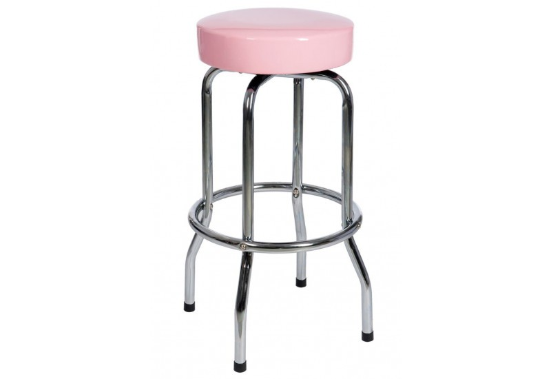 tabouret de bar rond en m tal et dessus rose 50x50x74cm j. Black Bedroom Furniture Sets. Home Design Ideas