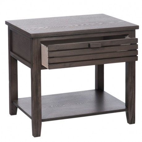 Table de chevet moderne 1 tiroir lattes bois marron 50x40x46cm j li - Table de chevet moderne ...