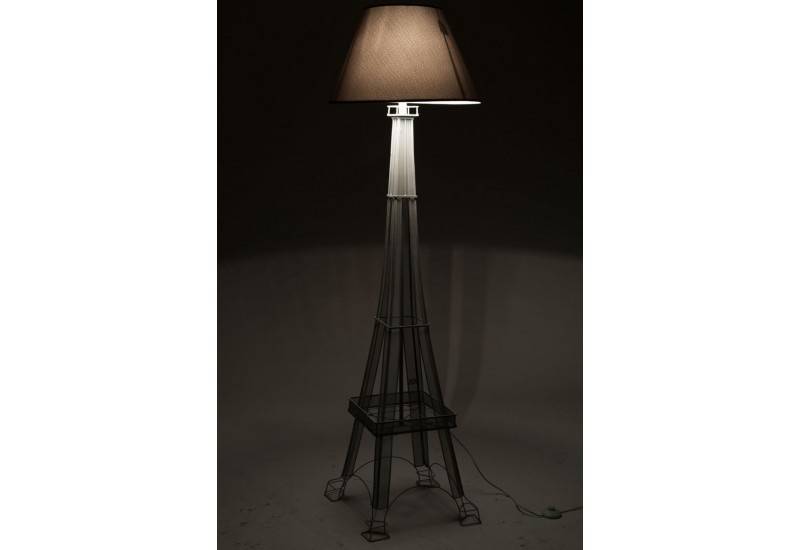lampe de lecture tour eiffel en fer gris 40x40x166cm j line j line. Black Bedroom Furniture Sets. Home Design Ideas