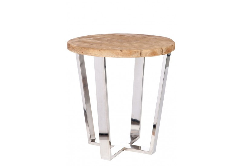Table ronde industrielle en bois naturel et pied m tal for Table ronde bois et metal