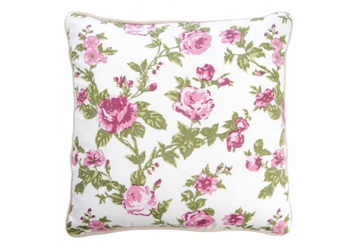 Coussin Campagne Roses Rose/Blanc 40X40Cm J-Line