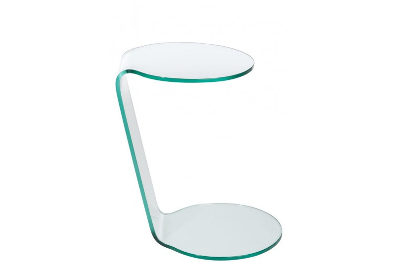 Table d 39 appoint moderne 2 ronds en verre transparent for Table d appoint moderne