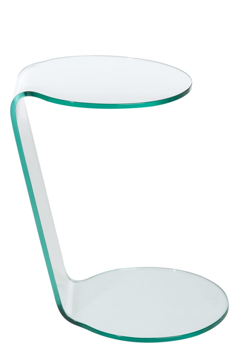 table d'appoint moderne 2 ronds en verre transparent 38x40x55cm j-l