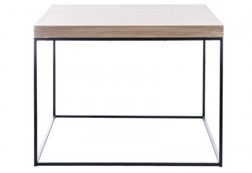 Table d 39 appoint r tro carr en bois naturel et pieds m tal for Table pied en x