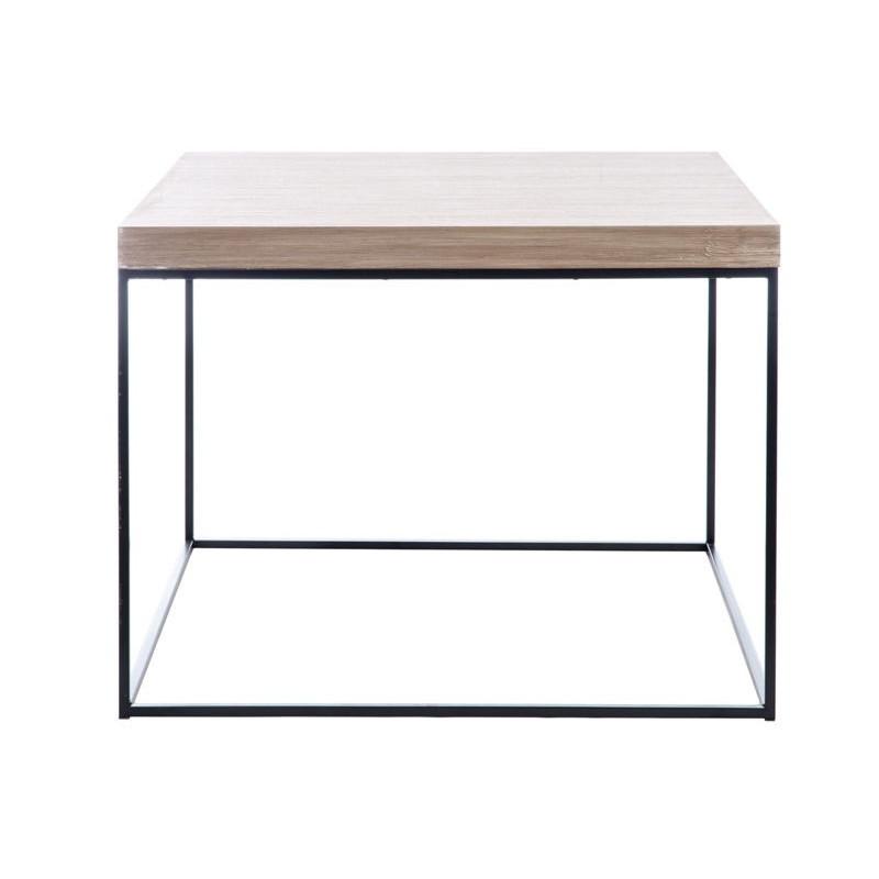 Table d 39 appoint r tro carr en bois naturel et pieds m tal for Table cuisine 80 x 60