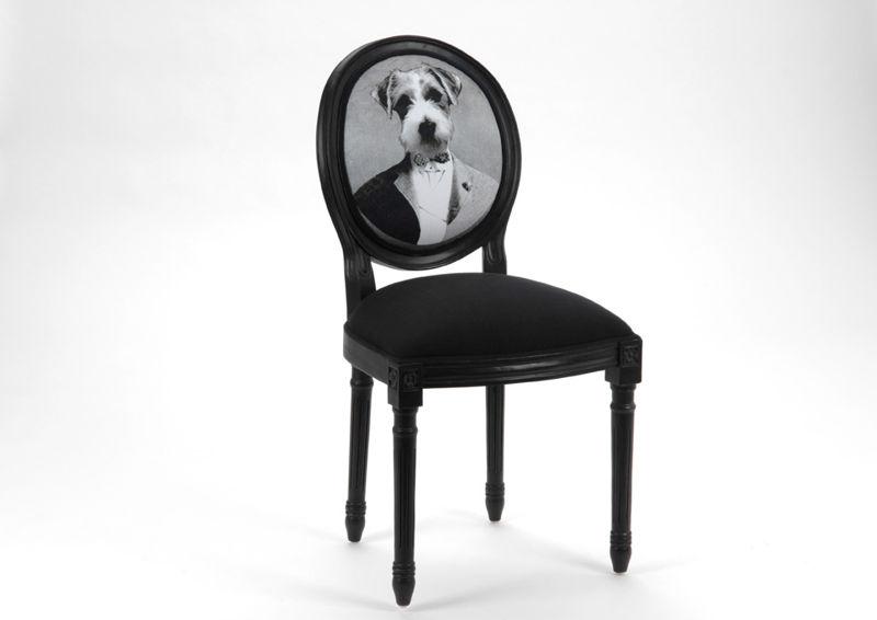 Chaise Style Louis Xvi Noir Avec Un Dossier Rond Chien En Costume A