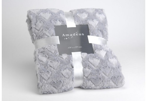 Plaid amour gris 130x170 Amadeus