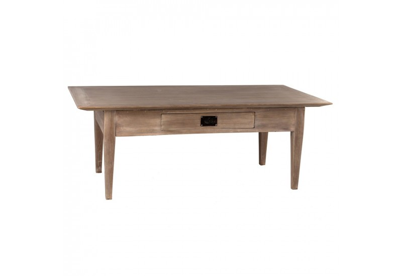 Table basse style coloniale 1 tiroir en bois naturel mindi by auxpo - Table basse maison coloniale ...