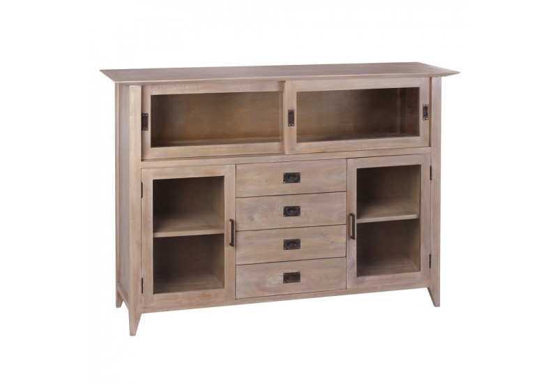 buffet style coloniale 4 tiroirs en bois naturel mindi by auxportes. Black Bedroom Furniture Sets. Home Design Ideas