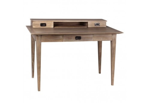 bureau style coloniale 3 tiroirs en bois naturel mindi by auxportes. Black Bedroom Furniture Sets. Home Design Ideas