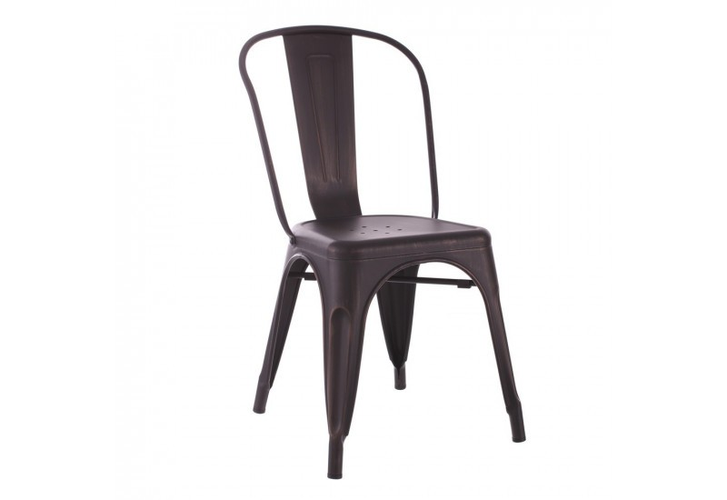 chaise bistrot industriel en m tal noir or dallas by. Black Bedroom Furniture Sets. Home Design Ideas