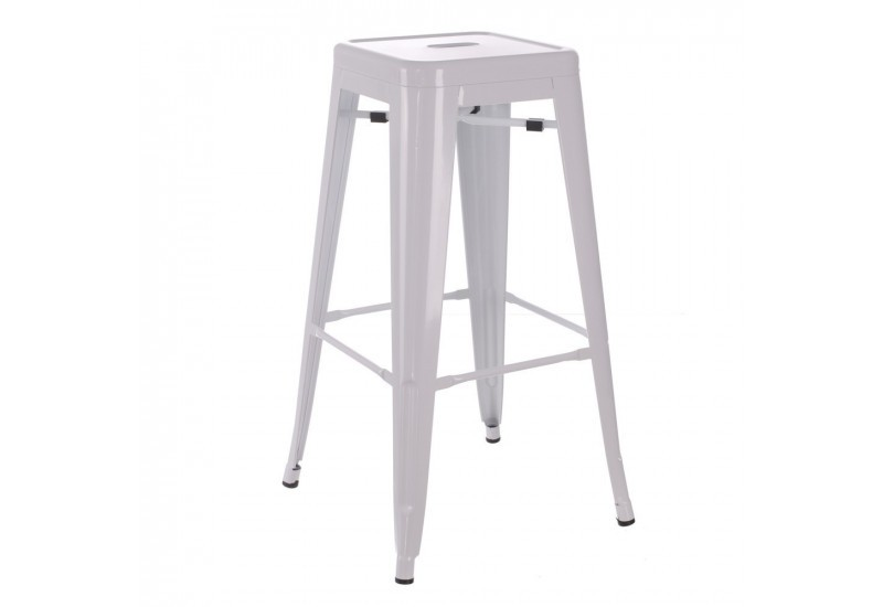 tabouret de bar en m tal laqu blanc dallas by auxportesdeladeco ai. Black Bedroom Furniture Sets. Home Design Ideas